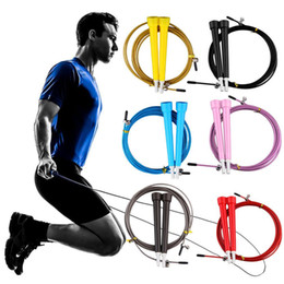 Wholesale Steel Wire Jump Rope - Jump Ropes 9 color wire skipping crossfit Ultra adjustable Speed Cable steel wire 3 m long adjustable wire rope skipping Free shipping