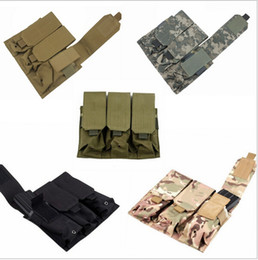 Wholesale M4 Ar15 - Hunting Airsoft Outdoor Molle Tactical Triple Magazine Pouch holster for AR15 M4 5.56mm Mag Pistol Handgun Shooting Vest Tool Dump Drop Bag