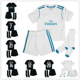 Wholesale Shirts Numbers - ^_^ Wholesale 17 18 RM madrid kids soccer jerseys home away custom name number ronaldo 7 AAA quality soccer uniforms shirts+shorts+socks
