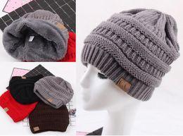 Wholesale Black Hair Falls - Fashion Knitted Cap flocking Autumn Winter Men Cotton Warm Hat CC Skullies Brand Heavy Hair Ball Twist Beanies Solid Color Hip-Hop Wool Hats