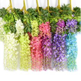 Wholesale Hanging Flowers String - Artificial wall Flowers wisteria simulation rattan flower bracketplant string plant Home Vine decoration for wedding