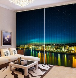 Wholesale Custom Kitchen Curtains - Top Classic 3D European Style blackout bedroom curtains night scenery custom curtain fashion decor home decoration for bedroom
