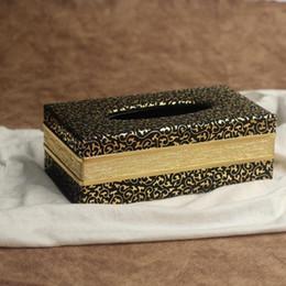Wholesale Golden Napkins - Wholesale- Black Golden stripe PU Leather Tissue Box Cover Napkin Box Paper Holder Home Decor Xmas Gift 24*13*8.5