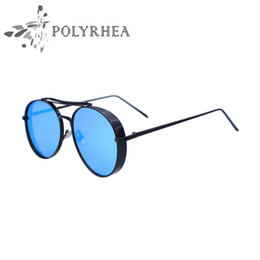 Wholesale Thick Frame Sunglasses - 2018 New Luxury Pilot Sunglasses Men Stainless Steel Frame Double Line Superstar Mirror Sunglasses Novel Metal Thick Sun Glasses With Box