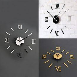 Wholesale Diy 3d Mirror Wall Clock - Wholesale- 3D Acrylic Mirror Surface Roman Numerals Wall Clock Stickers Home DIY Decor 10WG
