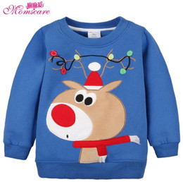 Wholesale Fleece Christmas Jacket - Wholesale- Christmas Animal Embroidery Childrens Clothing Pullover Thick Warm Fleece Boys Hoodies Girls Sweatshirt Kids Jacket Baby Clothes