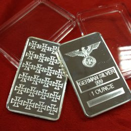 Wholesale German Christmas - Rare 1 Oz Silver Bar German 999 Silver Plated Iron Cross Bar Clear Acrylic Capsule for Christmas Collection