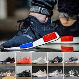 Wholesale Running Kicks - Originals NMD Runner R1 Primeknit OG Black Triple White Nice Kicks Circa Knit Men Women Running Shoes Sneakers Classic Casual Shoes 36-45