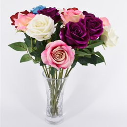 Wholesale Desktop Decorations - Artificial Flowers Fake Roses Wed Gifts For Valentines Day Real Touch Flower for Home Office Decoration