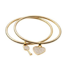 Wholesale Heart Shaped Love Letter - New York Fashion key heart-shaped charm bracelets love lovers Bangles fashion brand designer jewelry for couples women girls KM-45