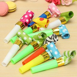 Wholesale Childrens Party Bags Wholesale - Wholesale-10Pcs Bag Funny Whistles Childrens Birthday Party Noise Maker Dots Blowing Dragon Blowout gift Wholesales