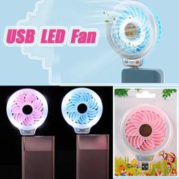 Wholesale Small Fan Lamp - DHL free Beauty LED Night Light with USB Mini Fan Portable Selfie fill in Light with Small Fan for Power Bank Smartphone Pocket usb Lamp fan