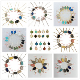 Wholesale Brass Circle Chain - Fashion Drusy Druzy Necklaces Earrings Jewelry For women 10 colors Gold Silver Plated Geometry Stone Pendant Necklace Earrings