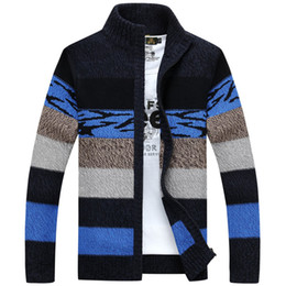 Wholesale Fleece Turtle Neck - New Thicken Fleece Wool Sweater Men Floral Pattern Cardigan Blusa Masculina Men't Clothing cashmere brand england style designer clothes