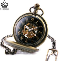 Wholesale Orkina Watches - ORKINA Men Women Unisex Mechanical Pocket Watches Skeleton Roman Numerals Dial Carved Lid Half Hunter Pendant Chain +GIFT BOX