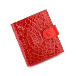 Wholesale Female Crocodiles - New fashion Genuine leather women's short design wallet fashion classic crocodile pattern purse female Wallets Cowhide 4 Colors