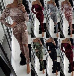 Wholesale Ladies Lounge Sets - Lady Crushed Velvet Romper women one piece suit Strapless Lounge Suit Sweatshirt Pant Women Sport Tracksuit Set LJJK630