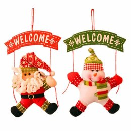 Wholesale Free Christmas Door Decorations - Santa Claus Snowman Tree Door Christmas Decoration For Home Ornament Decor Hanging Pendant Christmas Gift Free Shipping