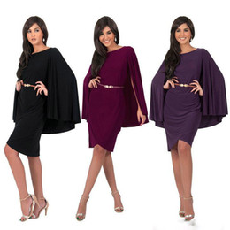 Wholesale Type Skirts - Round Neck Women Evening Dresses Sleeveless Chiffon Dress With Cape Party Dresses Knee-Length Formal Evening Dress Cape Type Skirt