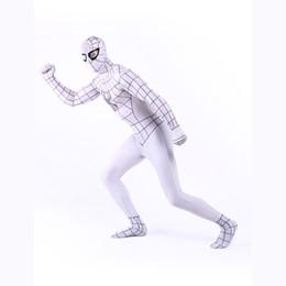 Hombres blancos zentai online-2017 Grey y blanco Spandex Lycra traje Zentai traje de cuerpo entero superhéroe Traje Spider-man Cosplay para Halloween