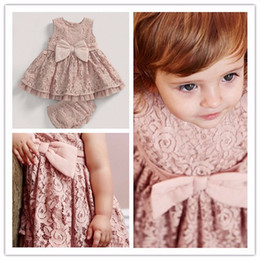 Wholesale Lace Denim Toddler Dress - Toddler Baby Girls Lace Dress Bow Sweet Kids Party Clothing Sets Dress and Lace Underwear 0-3T Wholesale