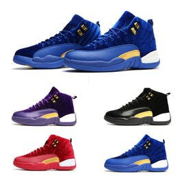 Wholesale New Designed Shoes - air retro 12 basketball shoes 2017 new design man women sport shoes cheap sneaker shoes purple red blue black outdoor athtic size 36-47