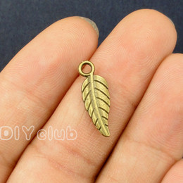 Wholesale Silver Leaf Connector - 150pcs-Antique Silver Bronze Leaf charms Pendant 2 Sided 19x7mm Best Gifts For Lovely Connector DIY Jewelry Making