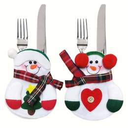 Wholesale Wholesale Kitchen Tableware - Christmas table decoration Xmas Decor Lovely Snowman Kitchen Tableware Holder Pocket Dinner Cutlery Bag Party cutlery sets