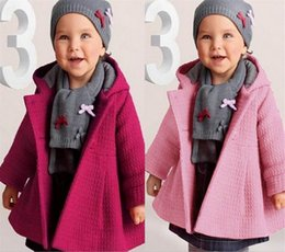 Wholesale Overcoat Baby Hooded - Winter infant overcoat honeycomb Solid Color Jacquard Weave quilted Hoddies baby girls outerwear Baby Clothes 0-2Y SKW-004