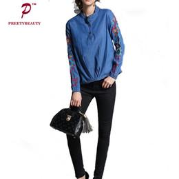 Wholesale Ladies Denim Shirt Xl - Denim Vintage Shirts Floral Embroidery Tops Blouse Blue Cotton Eleganta New Ethnic Temperament Ladies Shirt