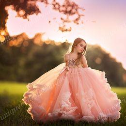 vestido de niña de flores gris Rebajas Vestidos de graduación Niños Lentejuelas Princesa Vestidos de niña de flores con flores y faldas con volantes en 3D Fotos reales Blush Girls Vestidos de cumpleaños