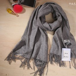 Wholesale Male Cashmere Scarf - 180*70cm Women Long Wrap Cashmere Good Quality Vintage Solid Female&Male Laine Stoles In Stock Drop Selling