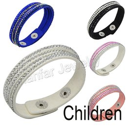 Wholesale Gold Jewelry For Children - Wholesale-Hot sale 17cm 4layers slake leather kids bracelet for Child girl jewelry