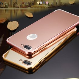 Wholesale Leather Aluminum Frame Bumper Case - 2 in 1 Detachable Metal Aluminum Bumper Frame For iPhone 7 Case With Mirror Cover Thin Hard Coque Funda For iPhone7 plus cases