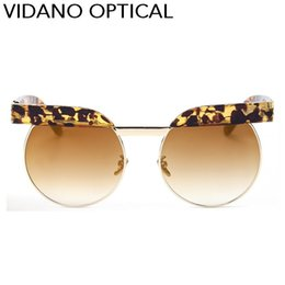 Wholesale Top Brand Optical Glass Frame - Vidano Optical Flat Top Semi Rimless Round Sunglasses For Men & Women Fashion Designer Brand Sun Glasses Luxury Shades Eyeglasses UV400