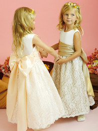 Wholesale Buy Pageant Dresses Girl - 2017 Children Very Hot Buy Beauty Belt Bowknot Girl Dress Ivory Lace Champagne Gowns Party Girl Pageant Dresses