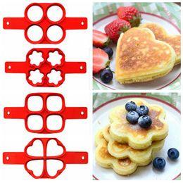 Wholesale Omelette Pans - 4 Grid Non Stick Pancake Flippin Pan Egg Ring Maker Kitchen Baking Moulds Flip Breakfast Maker Eggs Omelette Rings Tool CCA5842 50pcs
