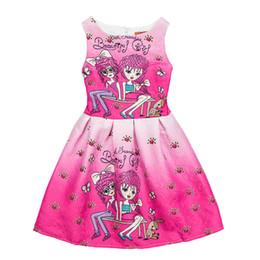Wholesale Rose Print Skirt - One-piece Flower Girl Dresses Sleeveless Rose Sisters Print Kids Dresses Party Princess Dress Bobble Skirt for Girls