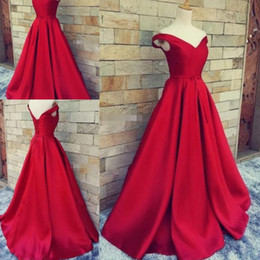 Wholesale Simple Evening Dresses Designs - Simple Design Red Evening Gowns 2017 Satin Off Shoulder Lace Up Prom Dresses Floor Length Cheap Formal Party Dresses Vestidos