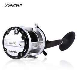 Wholesale Saltwater Trolling Reels - YUMOSHI 12+1 Ball Bearings Cast Drum Fishing Reel CNC handle design aluminum alloy spool Trolling suitable any fishing Position +B