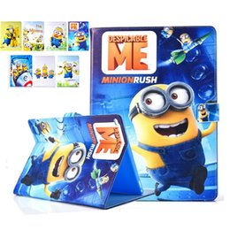 Wholesale Minion Cover For Ipad Mini - Me Me2 Minions Cartoon PU fold Stand Cover Case for iPad 6 5 air 2 1 Mini 4 Auto sleep wake OPP BAG