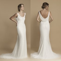 Wholesale Trendy Dress Sexy - Trendy 2017 Cowl Neck Mermaid Wedding Dresses Slim Fit and Flare Court Train Ivory Shimmer Sequined Tulle Bridal Gowns with Sash