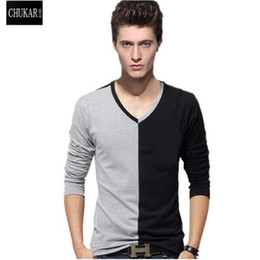 Wholesale Wholesale Mosaic Clothes - Wholesale- CHUKAR BIRD Mens Long Sleeve T-shirt V-neck t shirt geometric mosaic tide fashion slim tees big size casual clothes