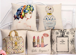 """Wholesale Branded Memory - Cotton Linen Square 18"""" Brand Perfume bottle Printed Sofa Decorative Cushion Covers Lipsticks Room Chair Pillow Case"""