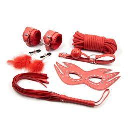Wholesale Handcuffs Whips Mask Set - 6 Pcs Set Adult Games Sex Bondage Leather Handcuffs Gag Whip Mask Toy Fetish Adult Sex Restraints Sex Toy for Couples J10-1-6