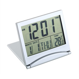 Wholesale Mini Desk Alarm Clock - MT-033 Calendar Alarm Desk Digital Clock Display date time temperature flexible mini LCD Thermometer cover Folding Foldable