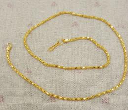 Wholesale Vietnam Gold - 50 pcs lot Plating Vietnam sand Gold Necklaces Hollow chains Safety without stimulation Shining Imitation gold Necklaces Length 42 cm*2 mm