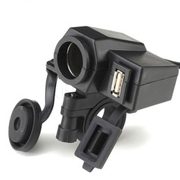 Wholesale Cigarette Lighter Usb Power Adaptor - New Waterproof Motorbike Motorcycle phone charger 12 V Cigarette Lighter + 5V USB Power Port Adaptor Outlet Socket Charger