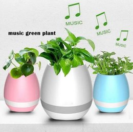 Wholesale White Plastic Flower Vases - Newest Creative Smart Vase Bluetooth Music Speaker Potted Plants Toys With Light Touch Plant Flower Pots Vase Home Decoration