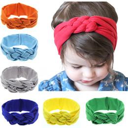 Wholesale Children Workouts - New Baby Elastic Cotton Headbands Infant Girls Braid Twist Turban Head Wraps Children Kids Stretchy Comfy Workout Hairband 16 Colors KHA208